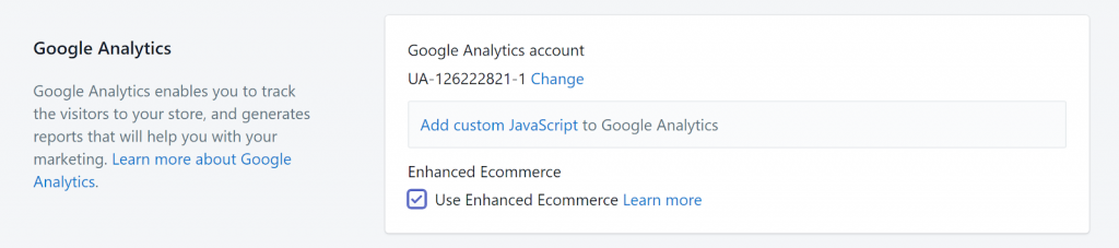 Google Analytics integration with Shopify