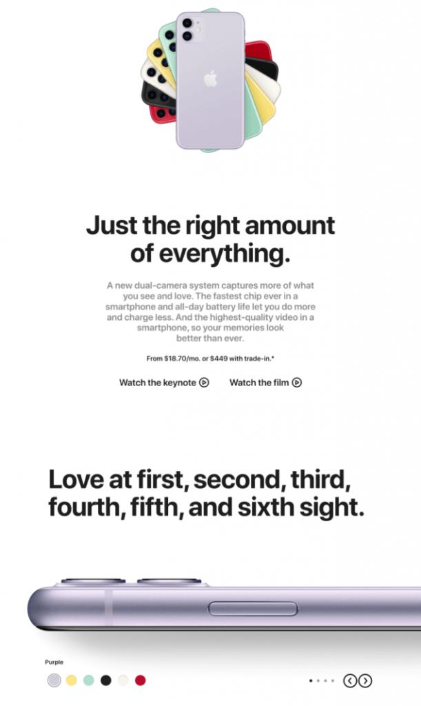 Apple Minimal web design example