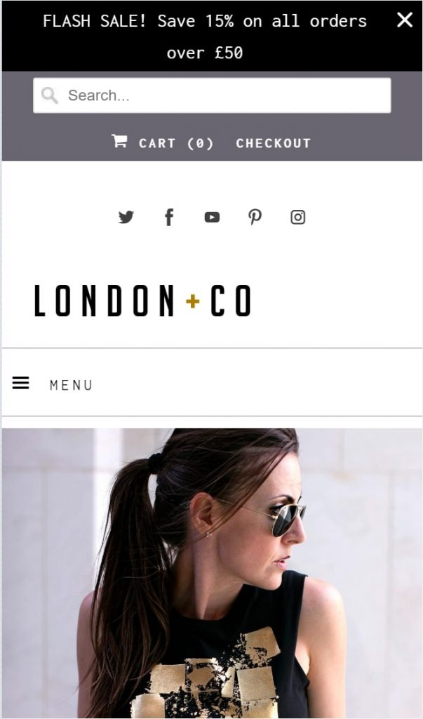 Shopify theme for Print on Demand store: Mobile view