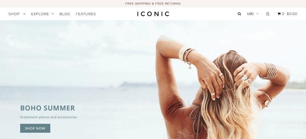 Shopify theme for POD store: iconic - desktop