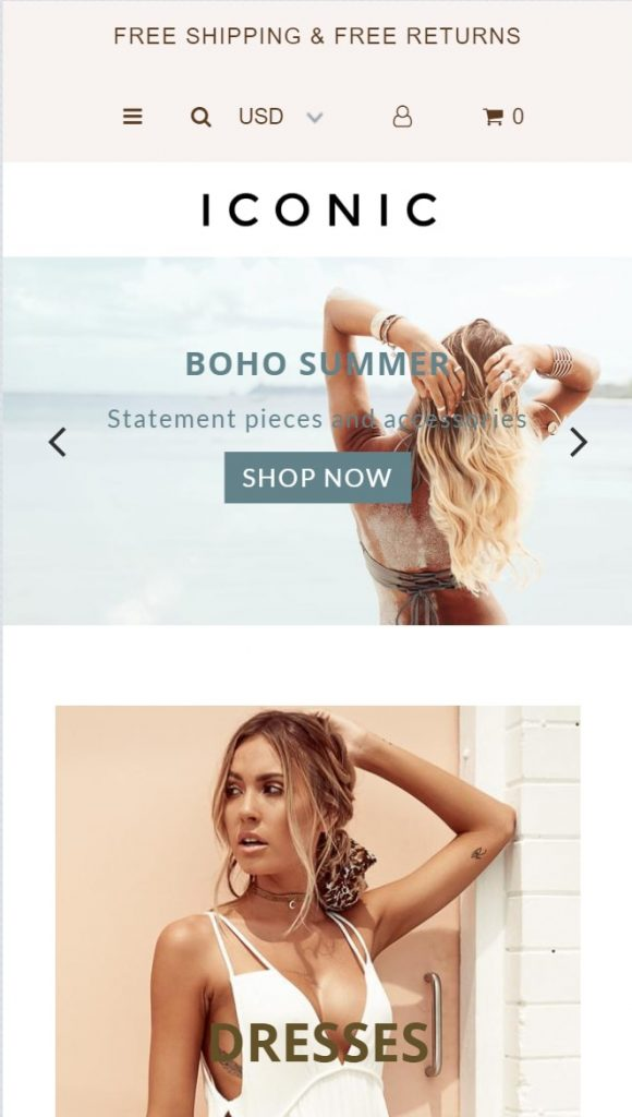 Shopify theme for POD store: iconic - mobile