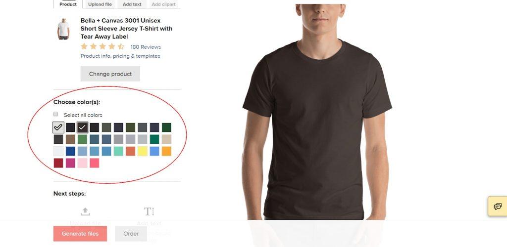 Select Color base in Printful