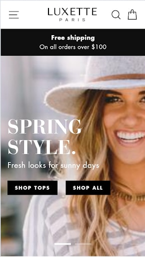 Shopify theme for Print on Demand store: Impulse mobile view