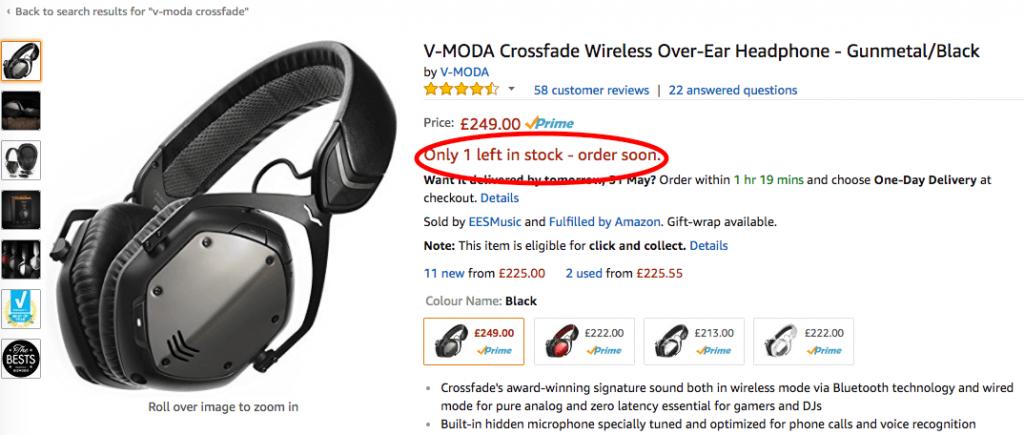 FOMO marketing example from Amazon