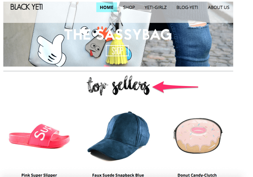 product showcase example in web design