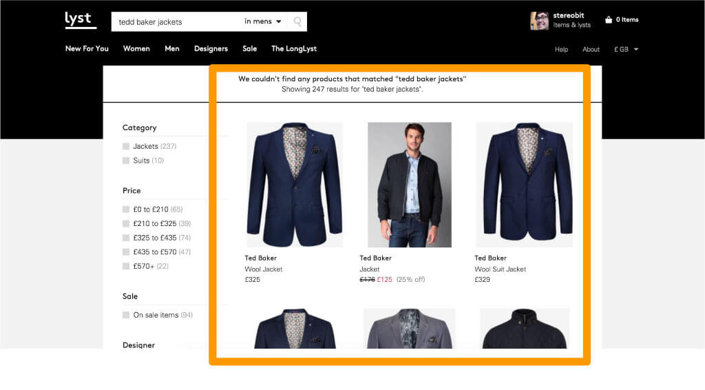 Lyst web design example 02