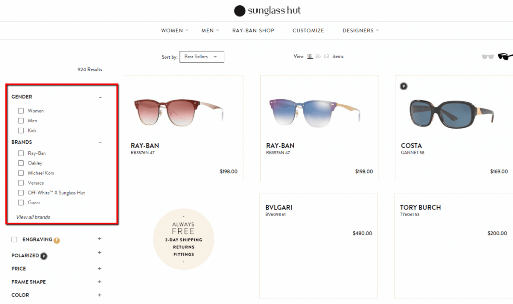 product filter example in web design