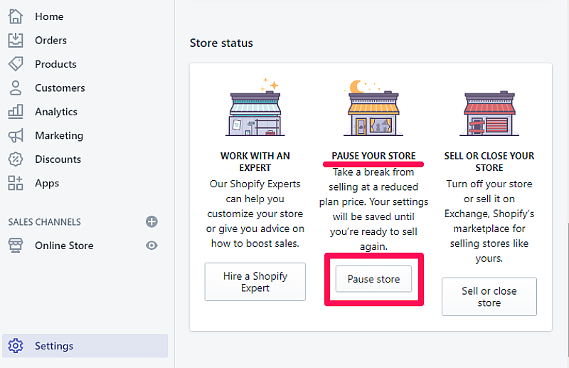 Pause your Shopify Store