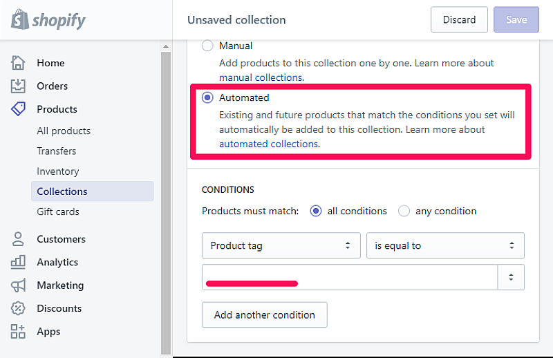 shopify collection conditionals tags