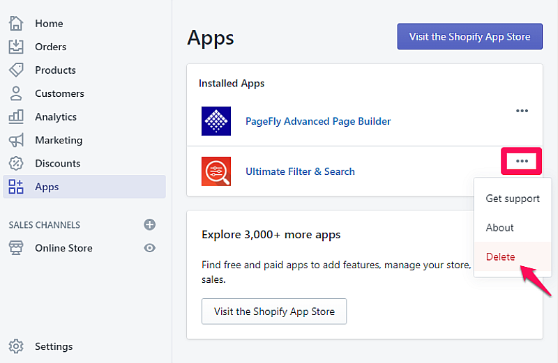 Uninstall Shopify apps