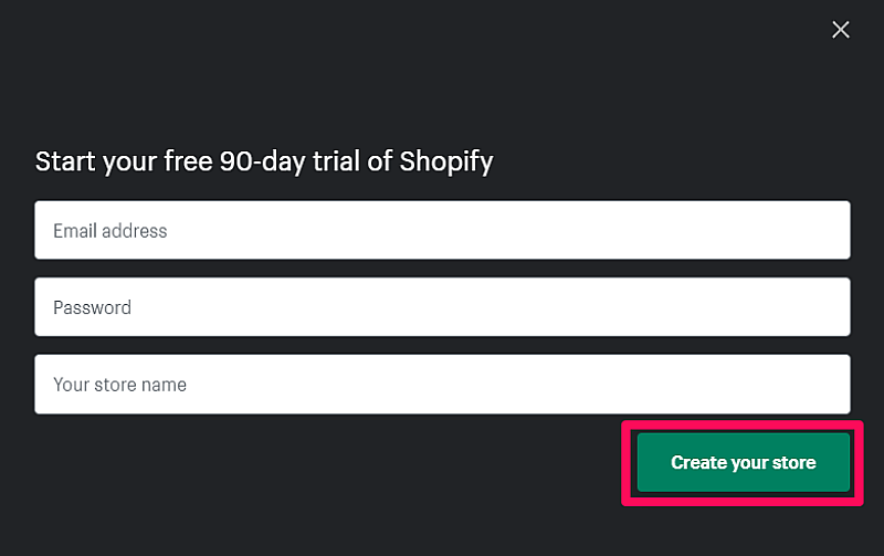 Shopify 90-day free trial