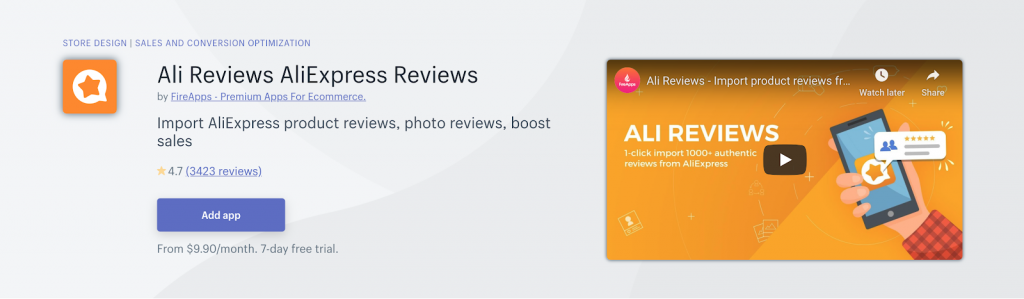 Ali Reviews App on Shopify App Store