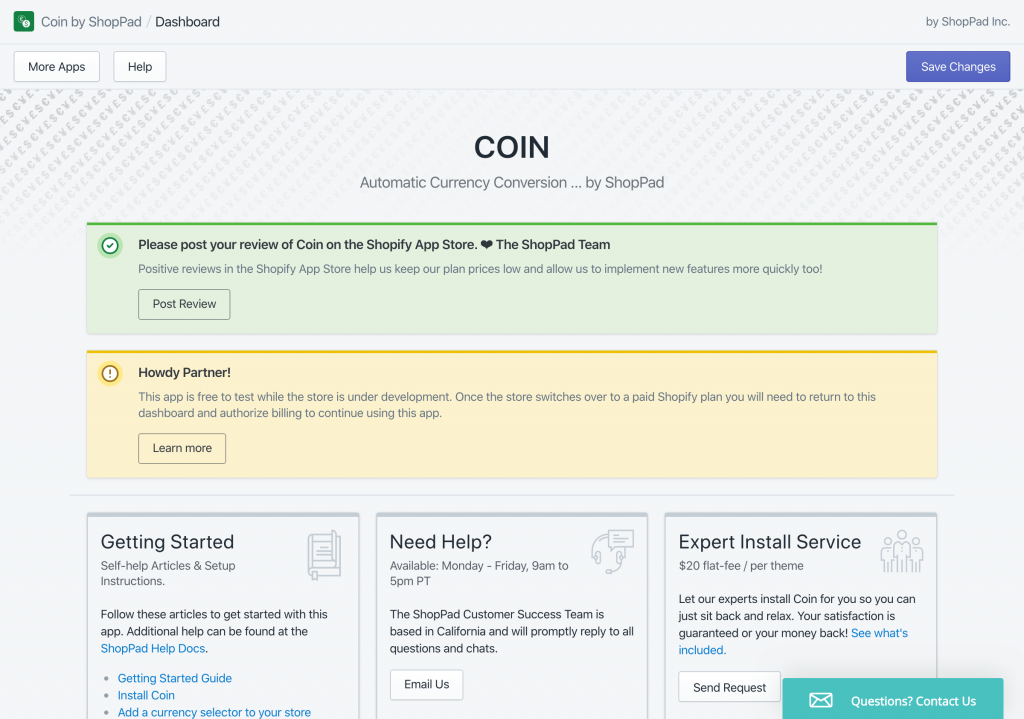 Coin Currency Converter's App settings and dashboard