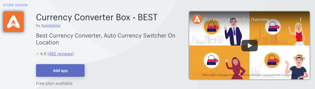 Currency Converter Box App on Shopify App Store