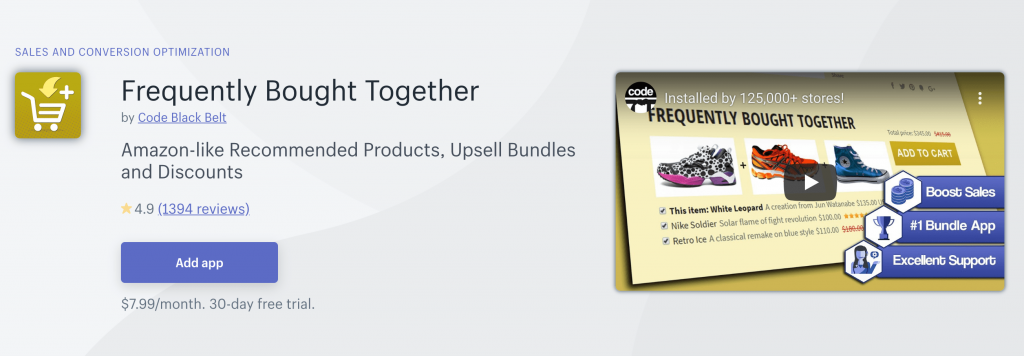 Frequently Bought Together on Shopify App Store
