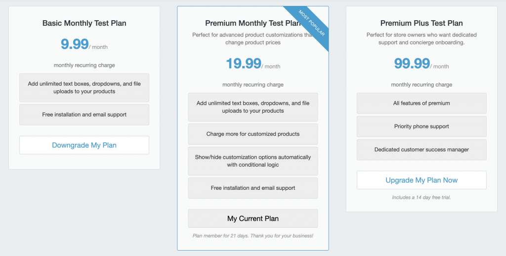 Detailed pricing plan for Product Option App