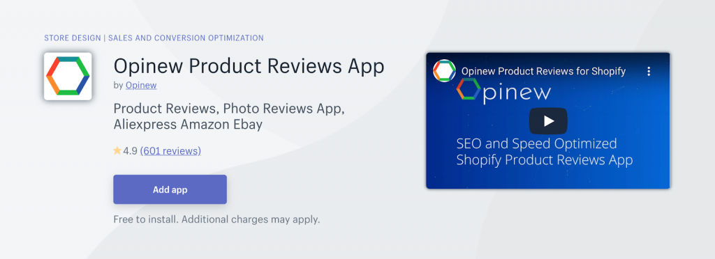 Opinew Shopify Product Reviews apps