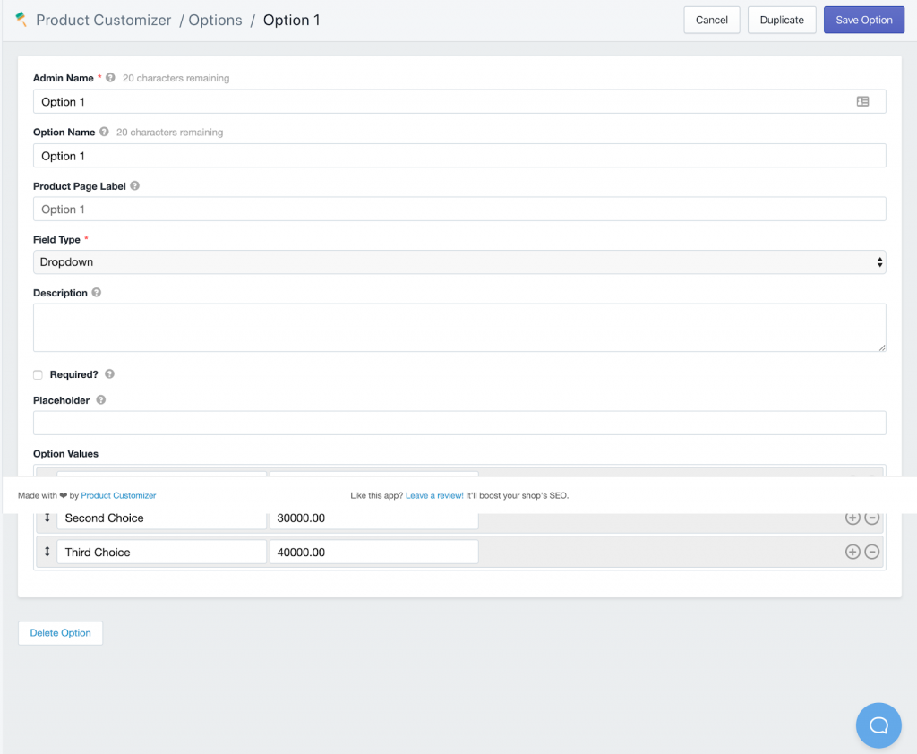 Setting up options for products in the Product Customizer app