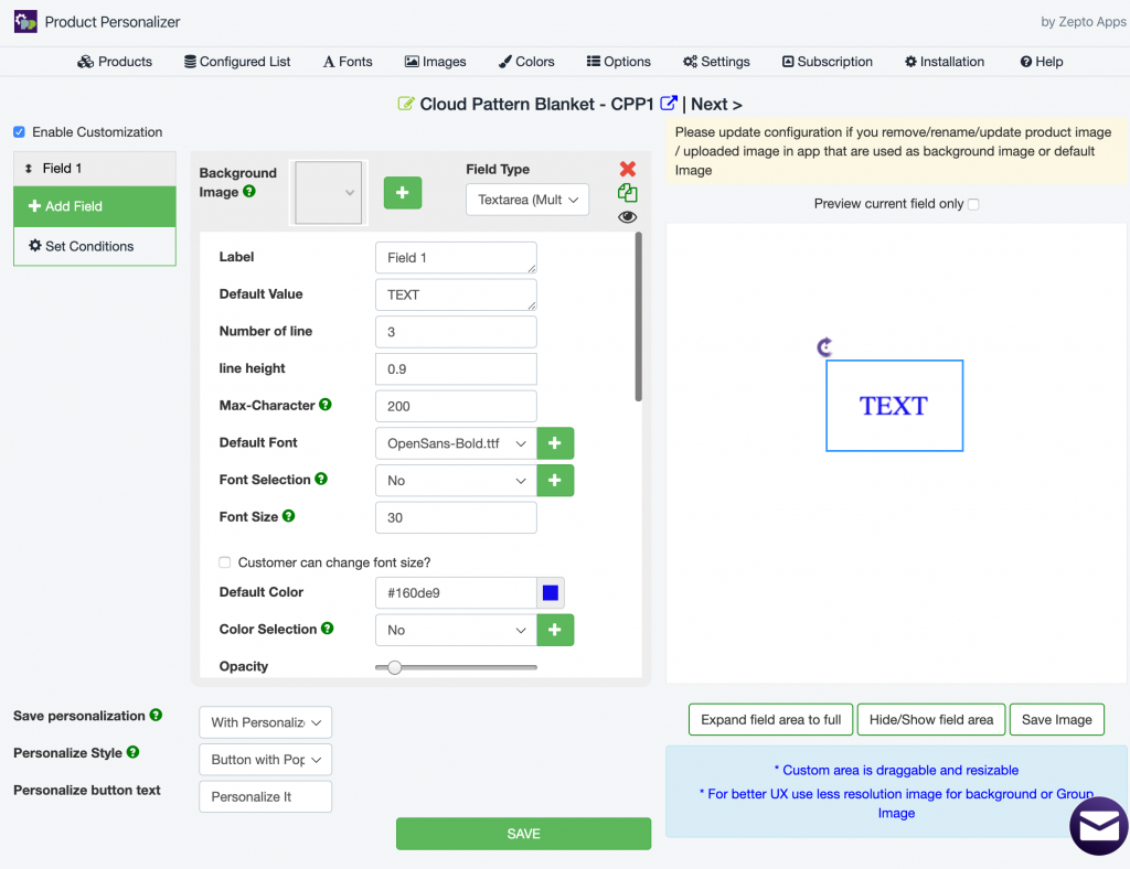 how to set up Product Personalizer App