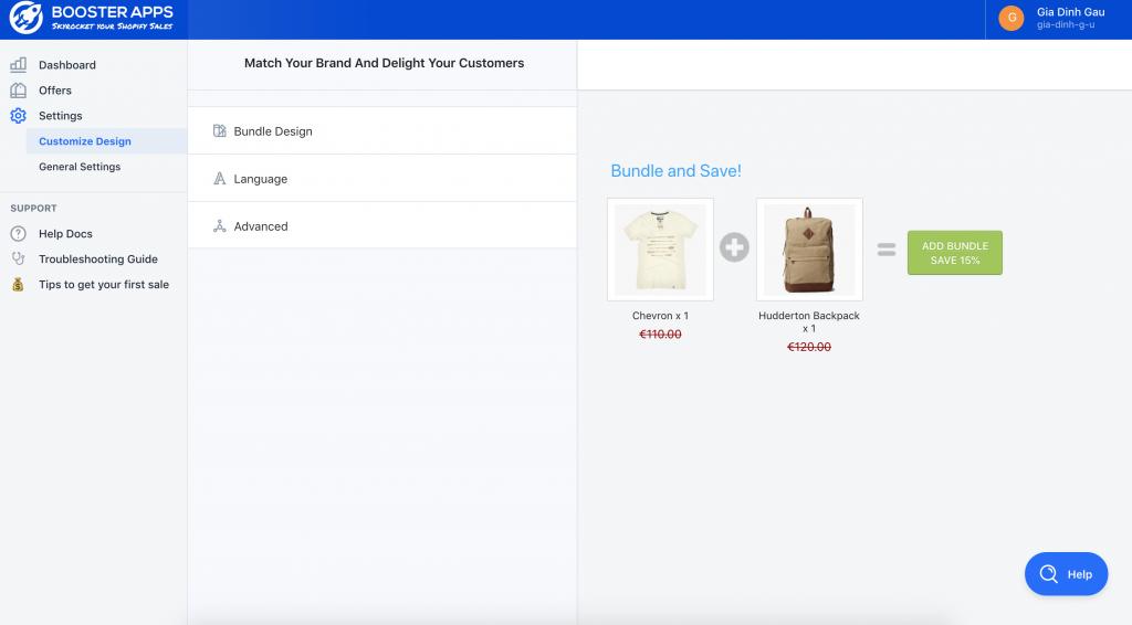 Upsell Bundles App UI and basic settings