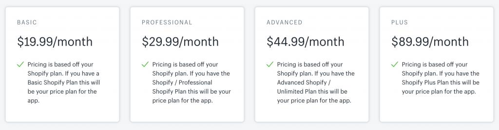 Pricing Details of Upsell Bundles App
