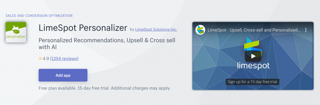 Shopify Upsell Apps: LimeSpot Personalizer