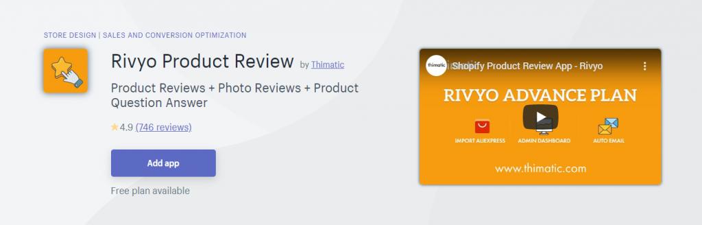 Rivyo Reviews App on Shopify App Store