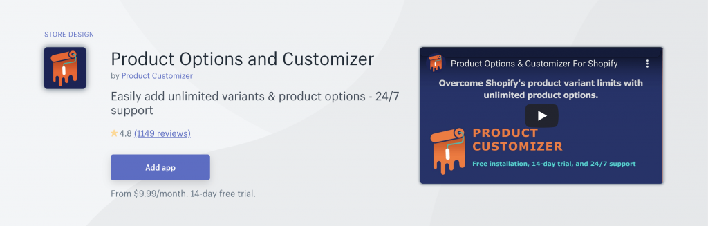 Product Options app on Shopify App Store