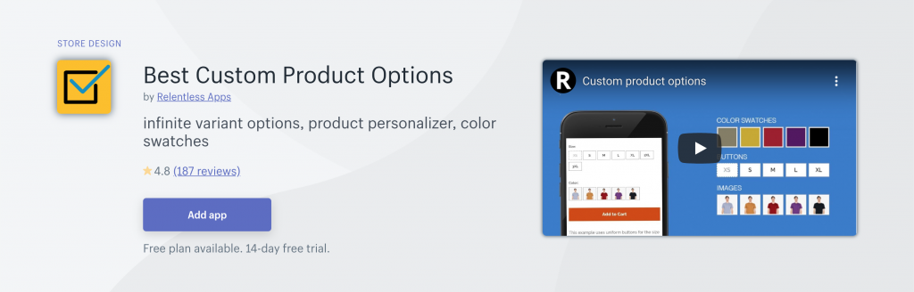 Best Custom Product Options on Shopify App Store