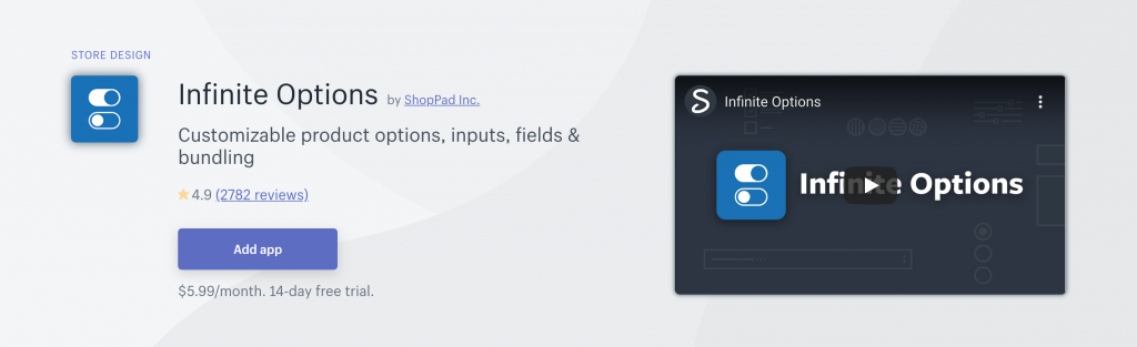 Infinite Options on Shopify App Store