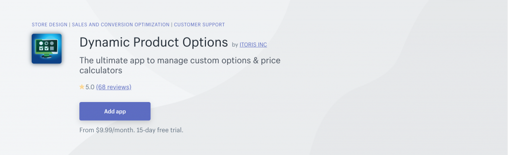 Dynamic Product Options on Shopify App Store