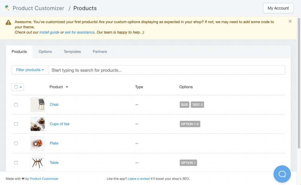 The main interface of Product Customizer app