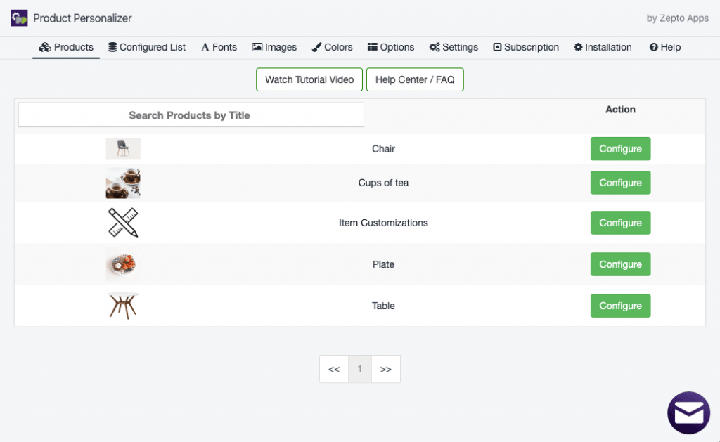 Product Personalizer settings and basic look
