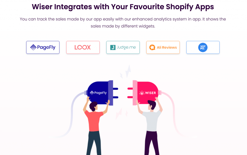 Wiser has partnered with many Shopify Apps