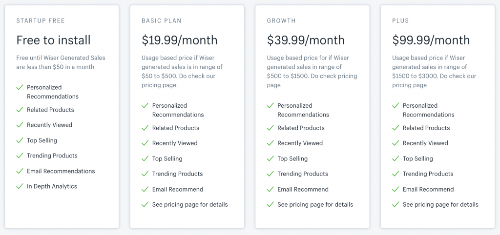 Wiser Personalized Recommendation pricing plan