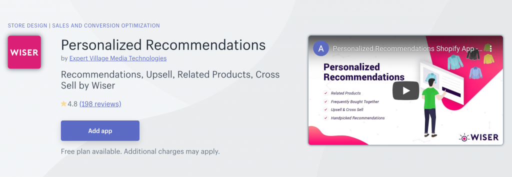 Wiser Personalized Recommendation Shopify App Store