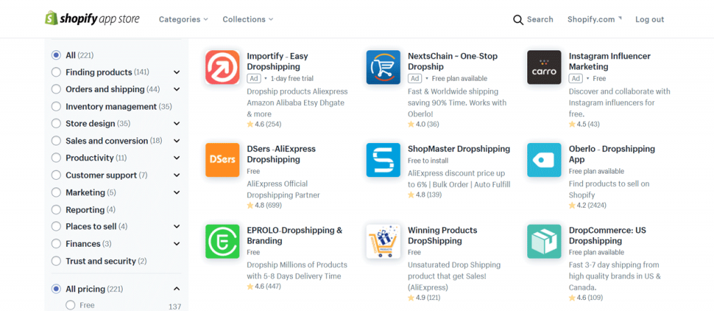dropshipping apps on Shopify app store