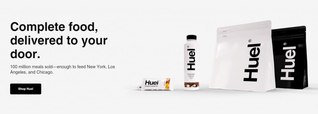 Huel's homepage design