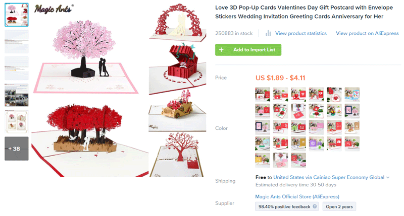 Valentine Product ideas to sell - pop-up cards