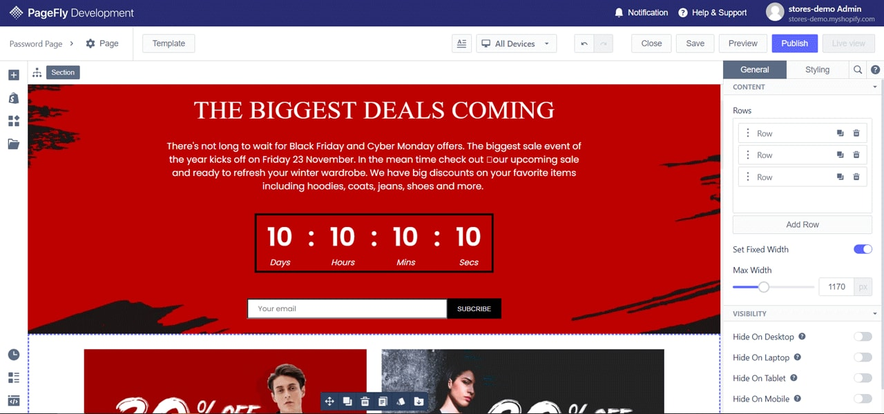PageFly Black Friday Landing Page Template