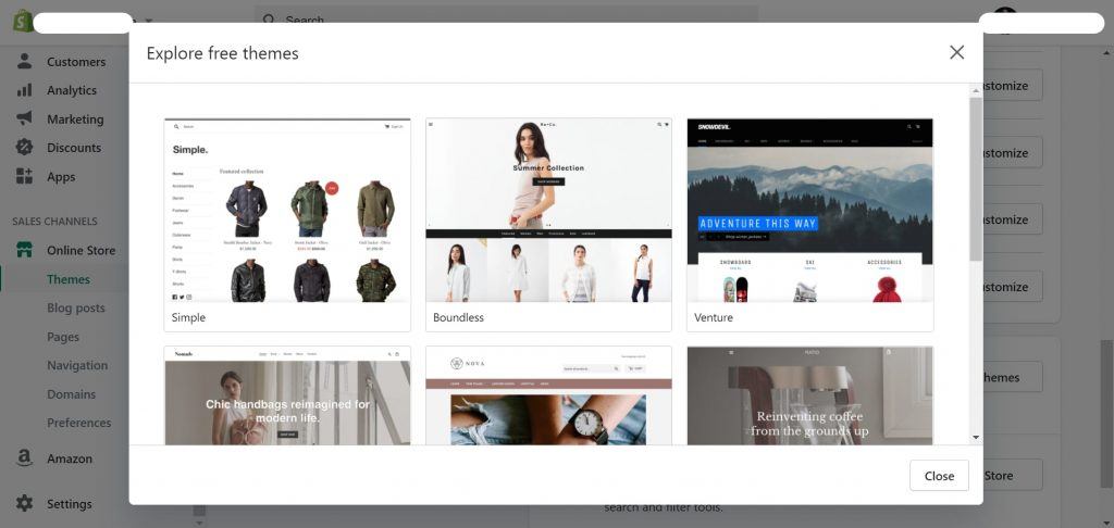 Choose a theme for your online store