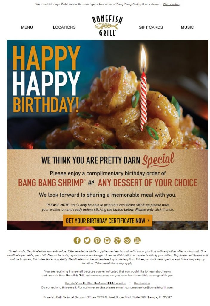 email marketing for food product
