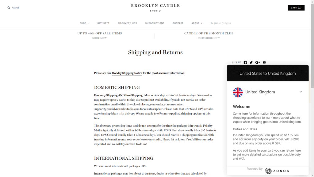 Shipping & Return page