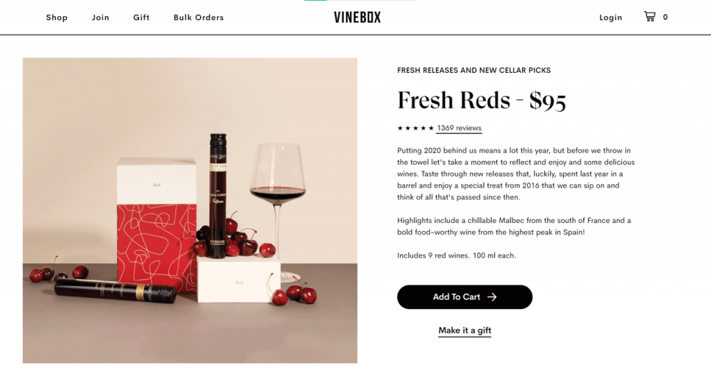 sell wine online example